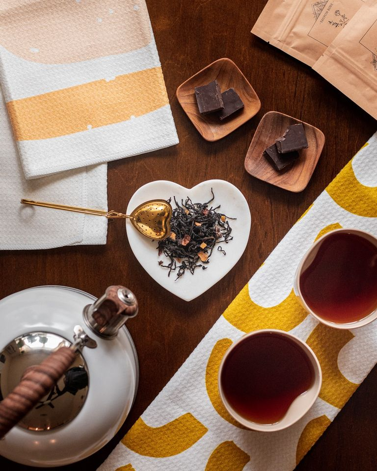 coconut, cocoa organic black tea on table