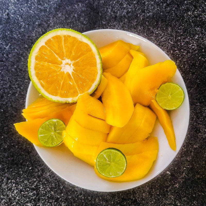 mango biche with keylime and orange